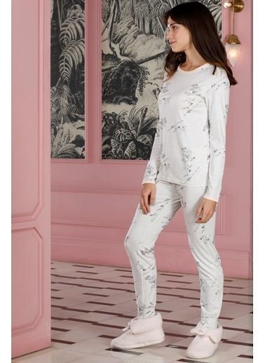 Hays Poet Kadın Baskılı 2Li Uzun Pijama Takımı Gri